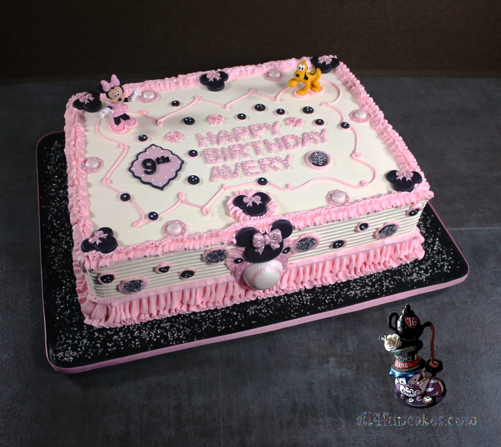 Minnie Mouse Theme Birthday Sheet Cake with Disney Licensed Toy